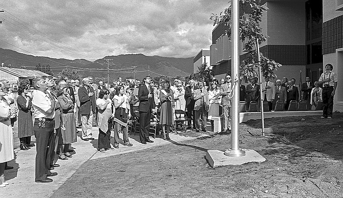 Gov. Robert List leads the Pledge of Allegiance at the July 1, 1982, dedication of the Judicial & Law Enforcement Center in Minden.