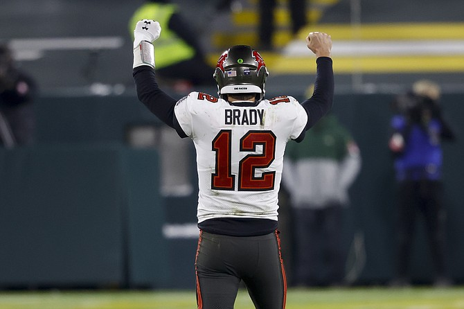 Tampa Bay Buccaneers quarterback Tom Brady reacts after winning the NFC championship Jan. 24.