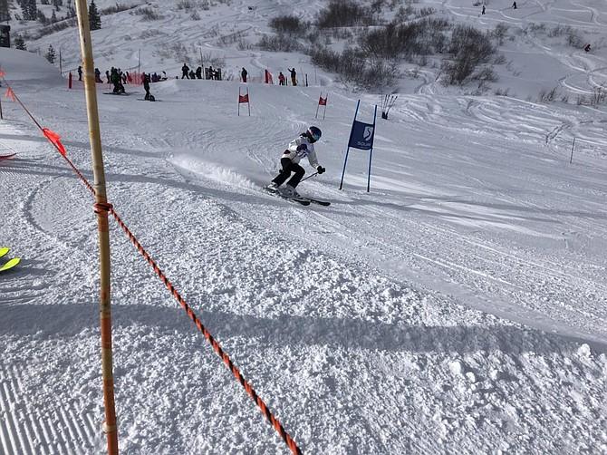 Carson High's Sierra Frame speeds around a gate at Alpine Meadows Tuesday during the Senators' first ski meet of the season.