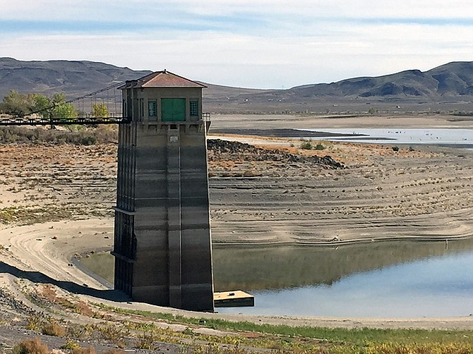The Lahontan Reservoir is fed by the Carson River and by the Truckee River with water diversions from the Derby Dam, supplying water for irrigation. Pictured here in 2014, in the third year of a four-year drought, much of the lake was dry.