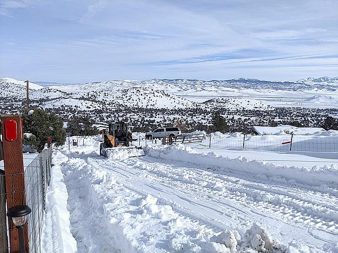 Plowing the driveway down in Topaz Ranch Estates. John Flaherty photo