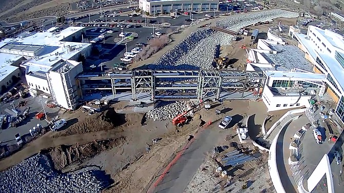 Overhead view of construction last summer on the connector bridge at Carson Tahoe Regional Medical Center.