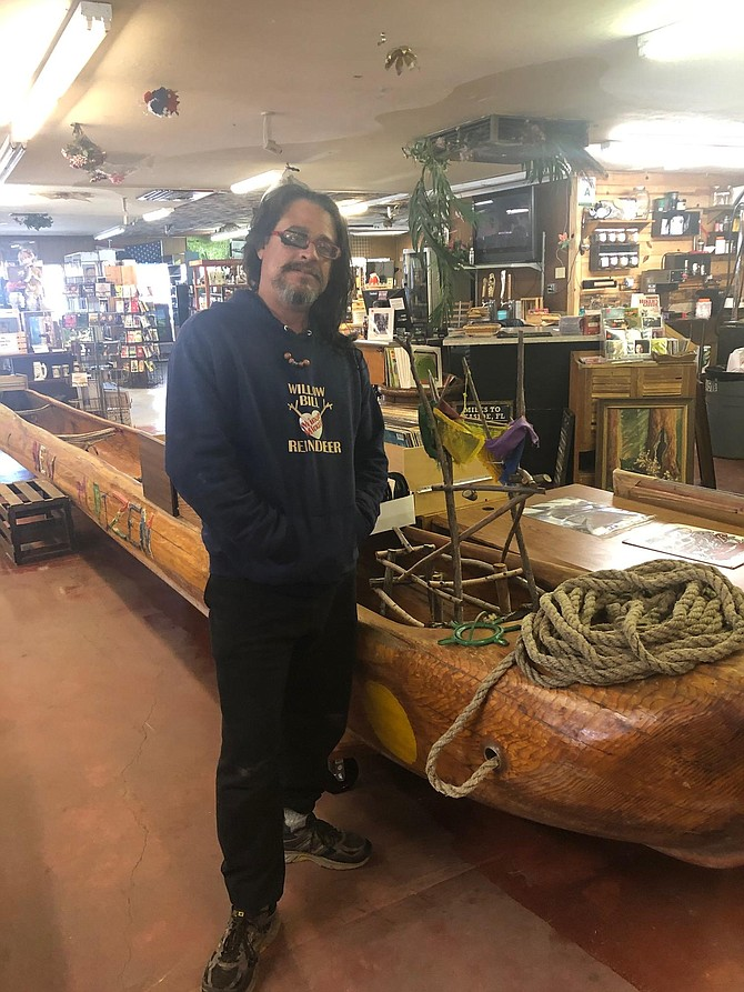 Willow Bill's canoe, New MediZen, will be on display through October at A to Zen in Carson City.