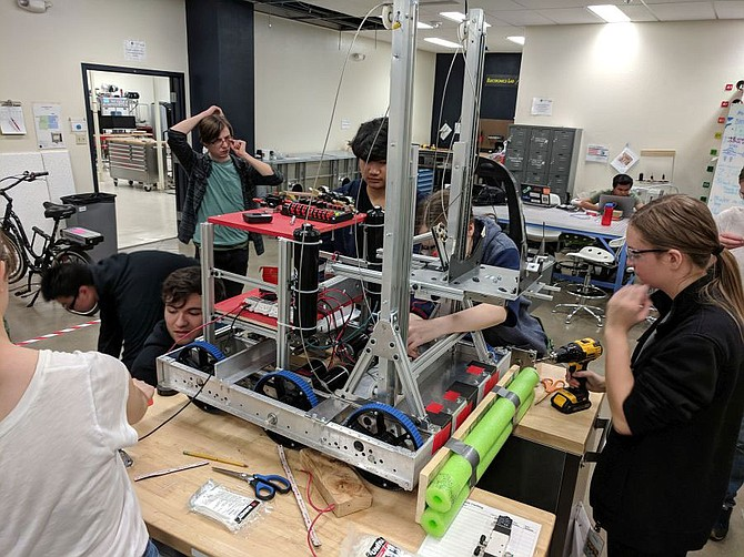 For several years FYRE Robotics has designed and built for the FIRST Robotics Competition in the University's Innevation Center and its Makerspace; this photo of the 2019 team was taken pre-pandemic.