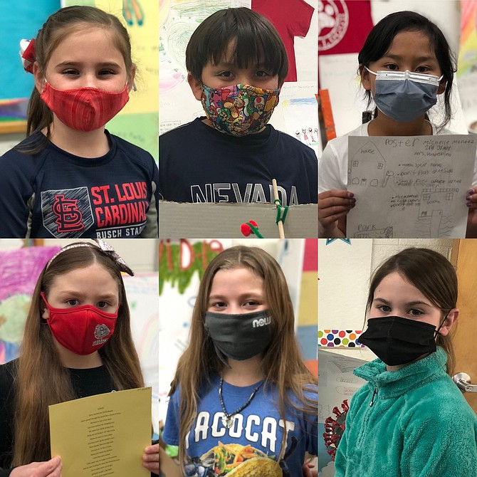 """From top left, Clara Papez, Romeo Torres and Michell Mendez, (bottom from left) Kiki Sulezich, Carmen Mills and Chloe Herman, the first-place winners of the """"2021 Reflections Contest."""""""