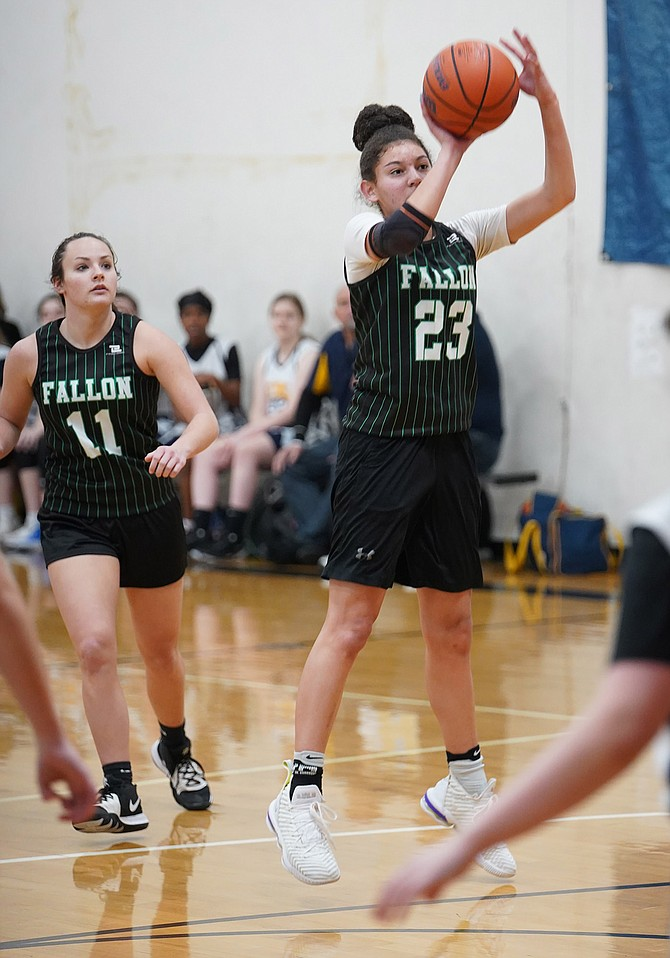 Fallon senior Madison Whitaker shoots over her opponent in Saturday's tournament game in Rocklin, Calif.