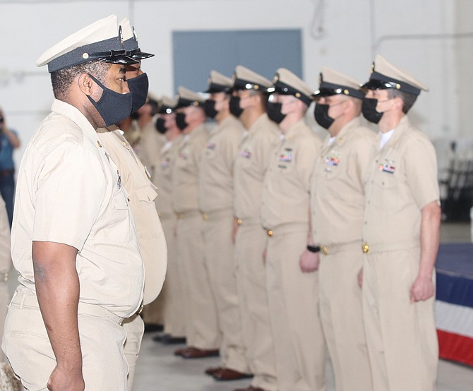 Fallon's newest chief petty officers stand at attention.