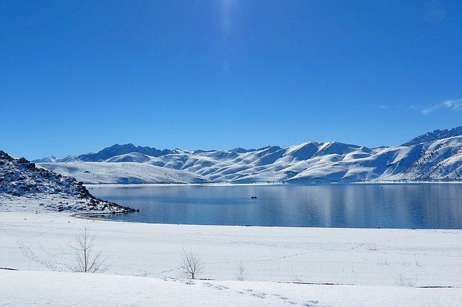 Topaz Lake was all silver and snowy last week.