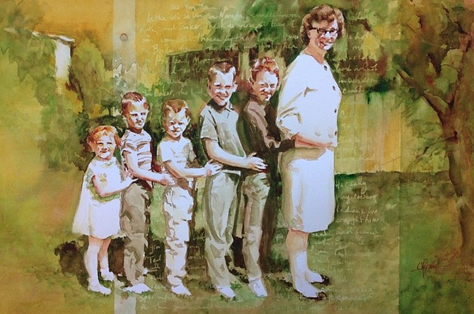 """""""Mom Train """" by Colleen Reynolds is a 15x22-inch watercolor. (Image courtesy of San Diego Watercolor Society)"""