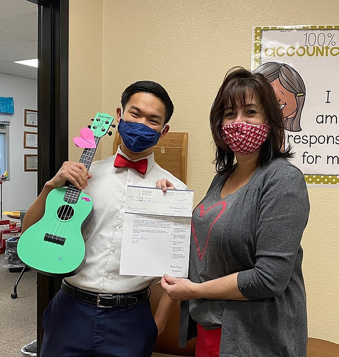Jonathan Change from Fremont Elementary School will use the mini-grant to purchase ukuleles for the school's music program.
