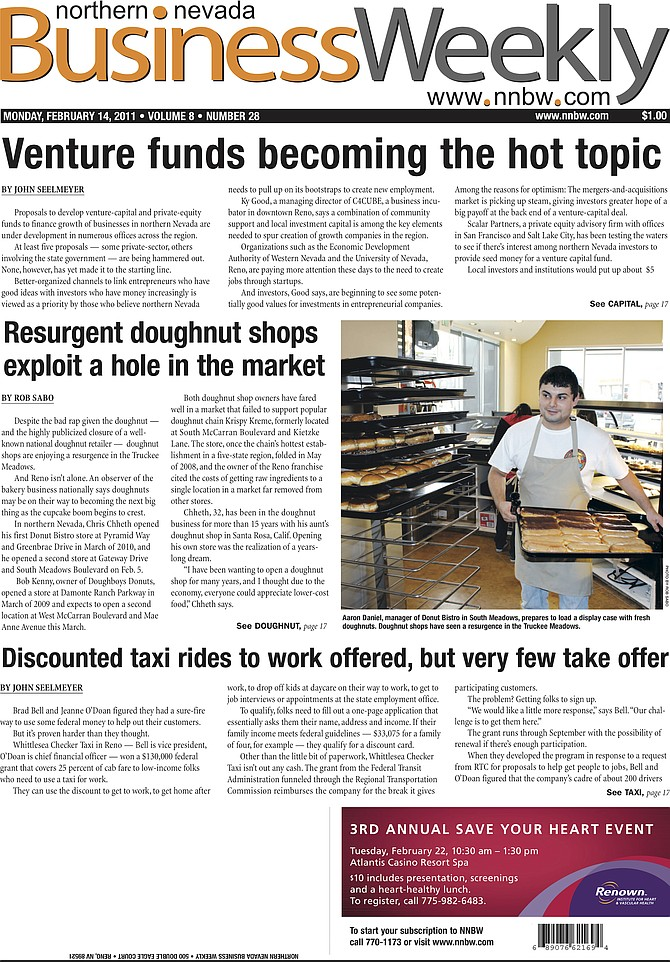 The cover of the Feb. 14, 2011, edition of the Northern Nevada Business Weekly.