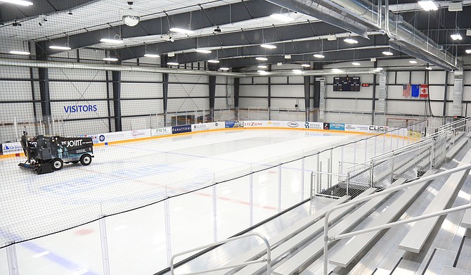 A look at one half of the Reno Ice hockey rink from the bleachers on the south side of the facility.