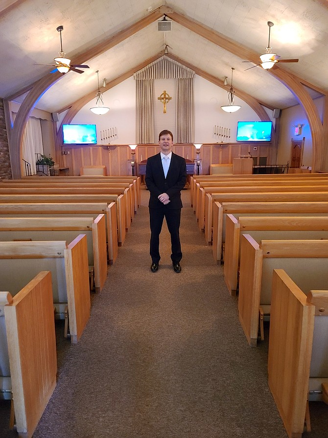 Rick Noel, co-owner of Walton's Funerals & Cremations, stands inside the company's Sierra Chapel at 875 W. Second St. in Reno.