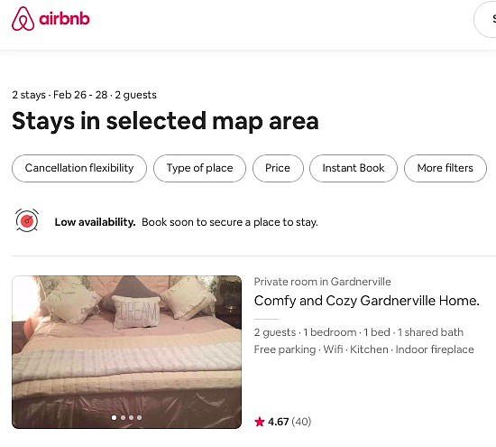 An Air BnB listing for a Gardnerville rental.