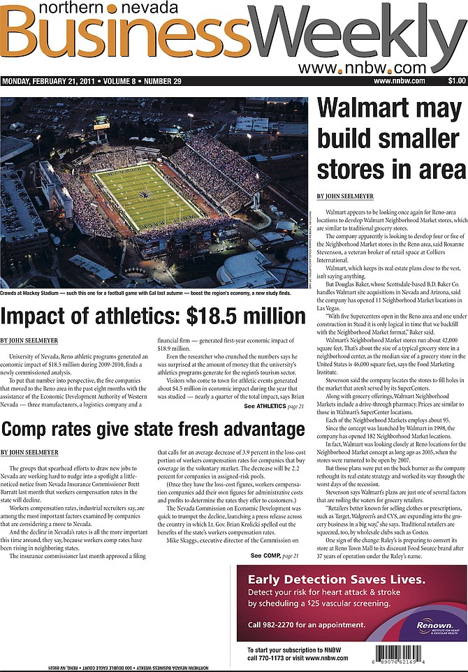 The cover of the Feb. 21, 2011, edition of the Northern Nevada Business Weekly.