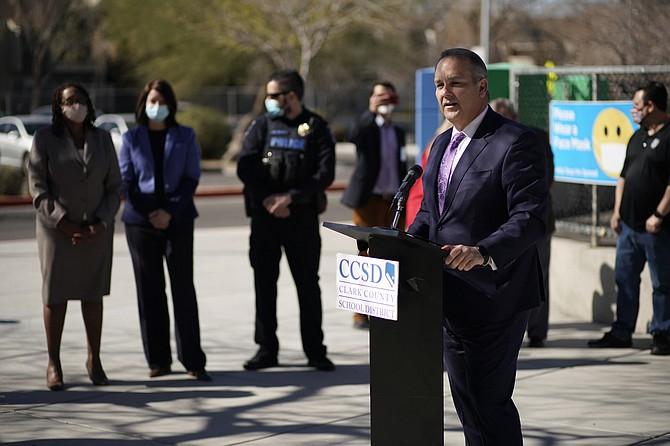 Photo: John Locher/AP Superintendent Jesus Jara speaks during a news conference at Dean Petersen Elementary School on Wednesday in Las Vegas.