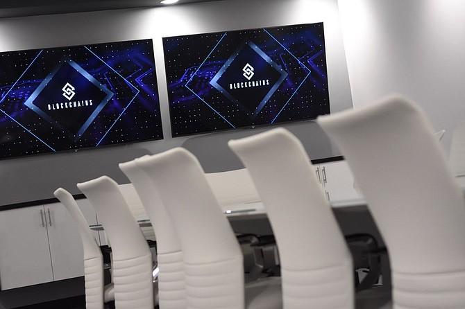 A conference room at an office for Blockchains, LLC in the Tahoe-Reno Industrial Center.