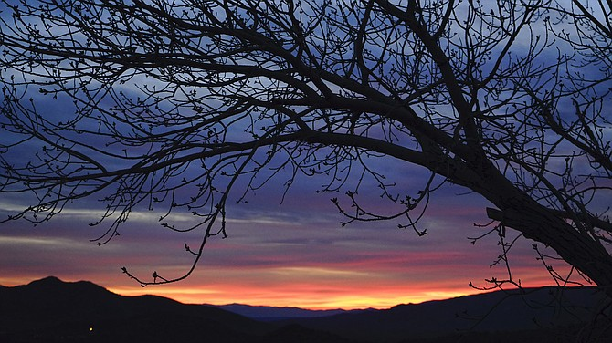 Tuesday's sunrise had a tinge of red this morning in Topaz Ranch Estates.
