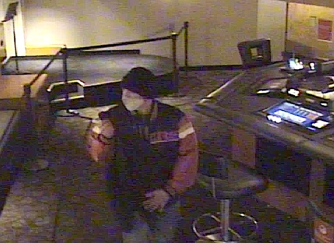A man in a 49er's jacket is being south in connection with a vehicle theft at a Stateline casino