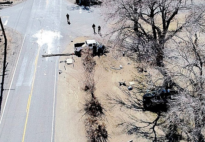 The scene of a fatal collision at Lower Colony Road and Day Lane in Smith Valley on Saturday.