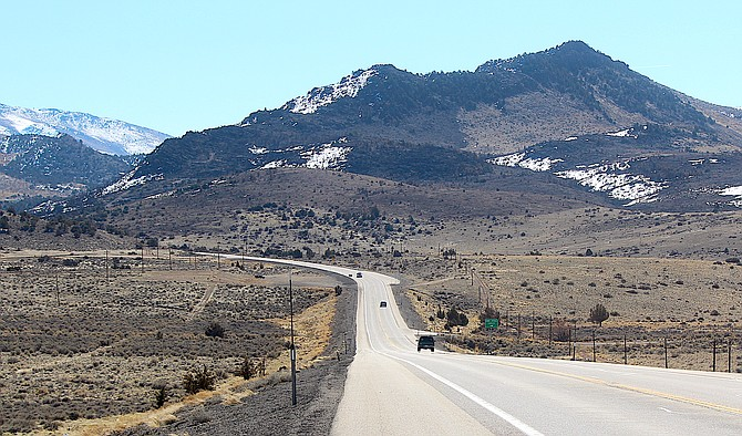 Highway 395 looking south from near the top of Jake's Hill on Thursday.