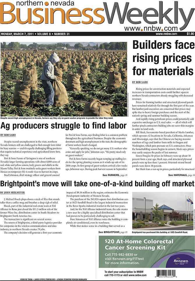 The cover of the March 7, 2011, edition of the Northern Nevada Business Weekly.