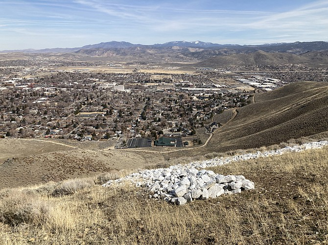 Kyler Klix/Nevada Appeal Carson City is seen from the middle of the C on C-Hill. The white rocks can be seen in the foreground. The trail seen goes from the South Ormsby parking area to the South Curry Street parking area.