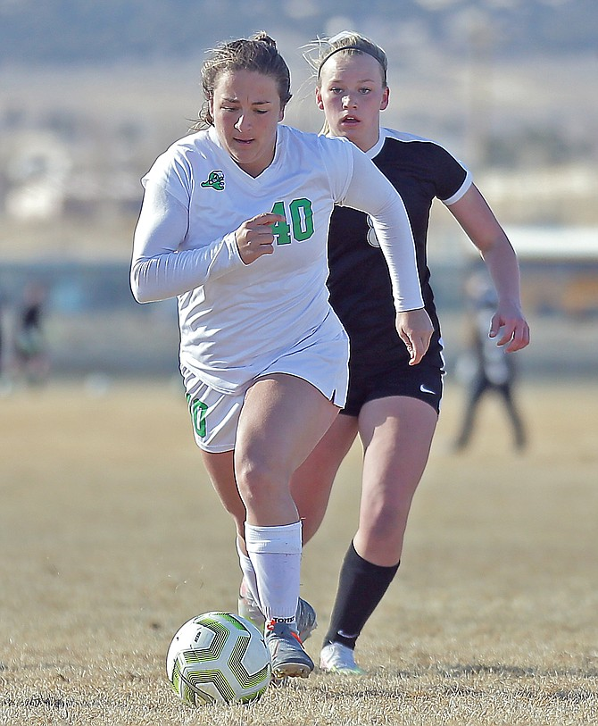 Anthony Mori/Elko Daily Free Press Fallon's Franny Mori drives up the field against Spring Creek on Wednesday.