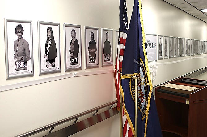 Steve Ranson/LVN Lined up on one wall of the Ioannis A. Lougaris VA Medical Center in Reno are 39 photos of female veterans.