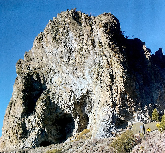 The former volcano neck known as Cave Rock looms over Lake Tahoe.