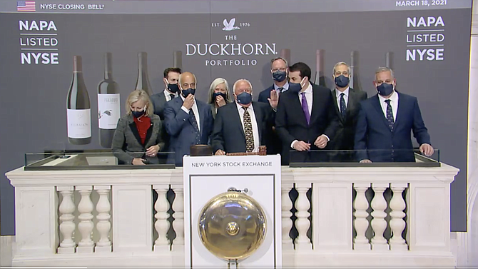 In this screen grab from a video posted to Twitter, executives of Duckhorn Wineries prepare Thursday to ring the closing bell at the New York Stock Exchange.