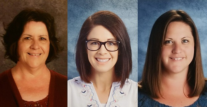 From left, Carson City School District teachers, Katheryn Katheryn Brown, special education teacher at Bordewich Bray Elementary School, Alyssa Jensen, second/third grade Gifted and Talented Education teacher at Mark Twain Elementary School, and Jennifer Palmer, special education teacher at Eagle Valley Middle School, have earned their National Board Certification.
