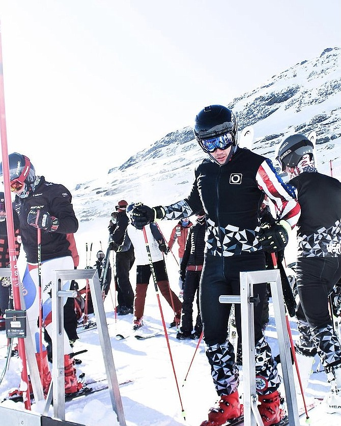 Noah Giron sets up to start a training session in Laax, Switzerland, in early December prior to his first ski cross World Cup appearance.