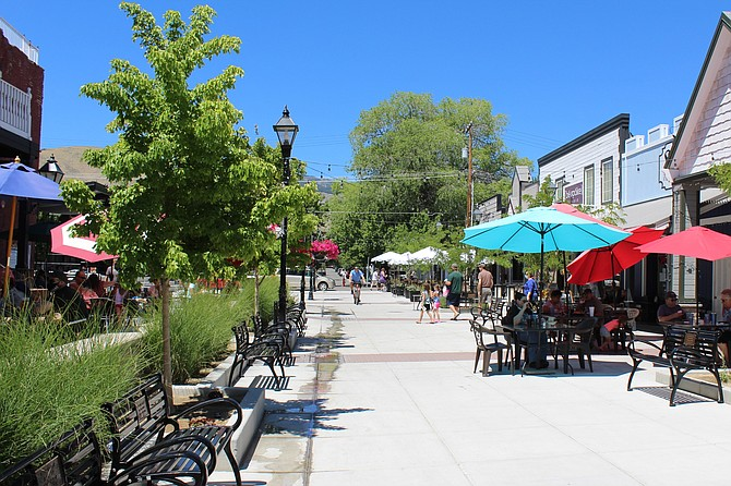 McFadden Plaza will soon come to life as merchants open their colorful umbrellas. (Photo: Ronni Hannaman)