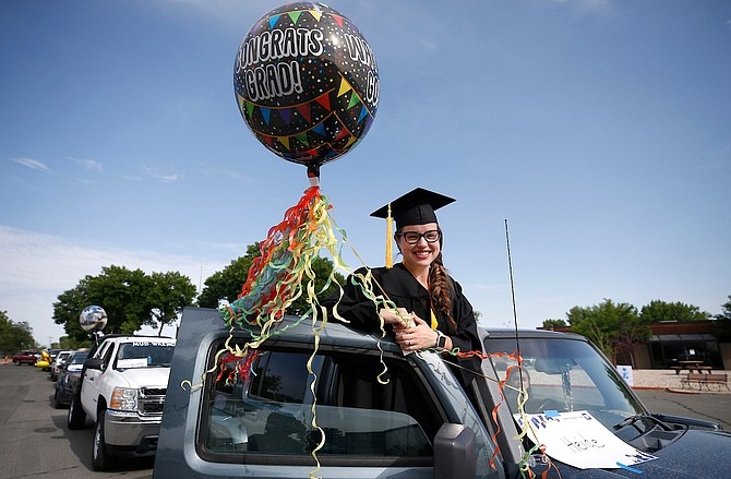 Western Nevada College students participate in the Parade of Graduates at the Fallon campus on June 25.
