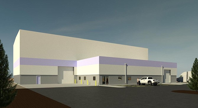A rendering of the 10,700-square-foot service and manufacturing center German-based thyssenkrupp Industrial Solutions is currently building at the Tahoe Reno Industrial Center in Storey County. The company was one of nine to receive a tax break from the state of Nevada on March 31.