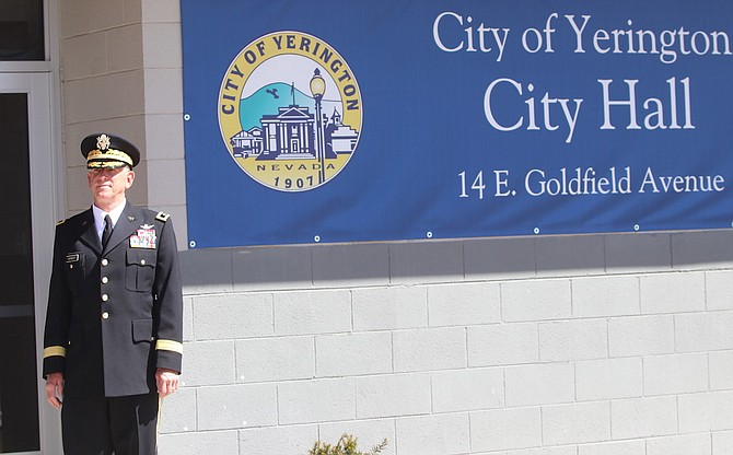Retired Maj. Gen. Robert Herbert stands in front of the Yerington City Hall, which is named after the longtime Nevada guardsman.