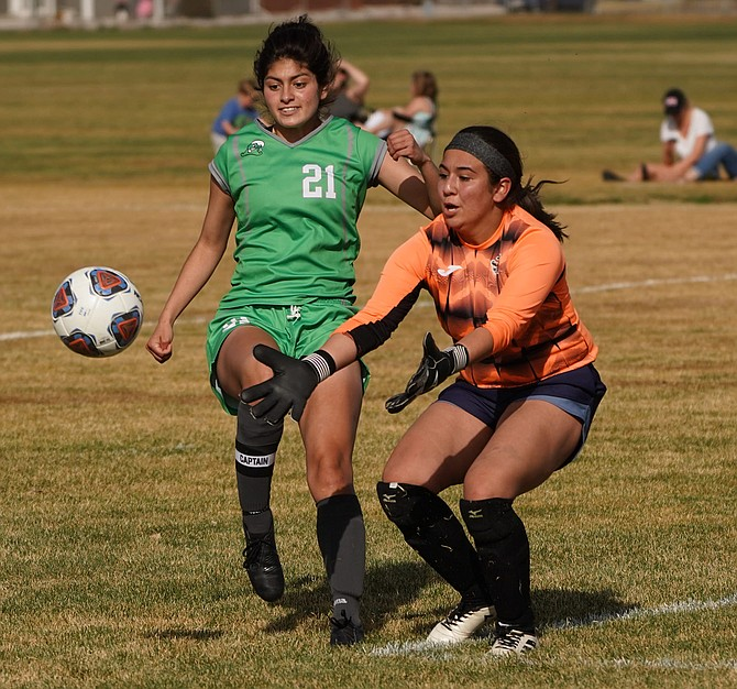 Fallon's Bianca Lopez tries to beat Fernley's goalie to the ball in Friday's game.