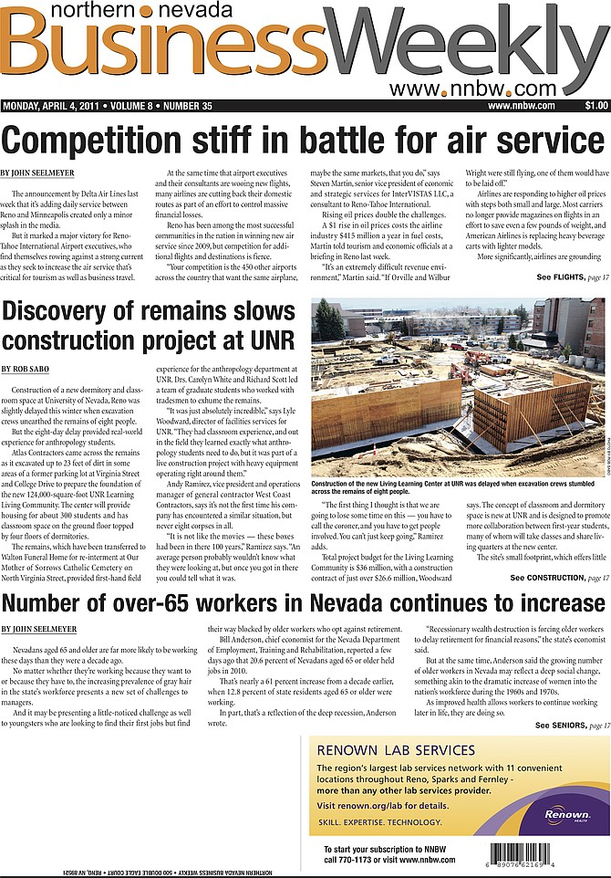 The cover of the April 4, 2011, edition of the Northern Nevada Business Weekly.