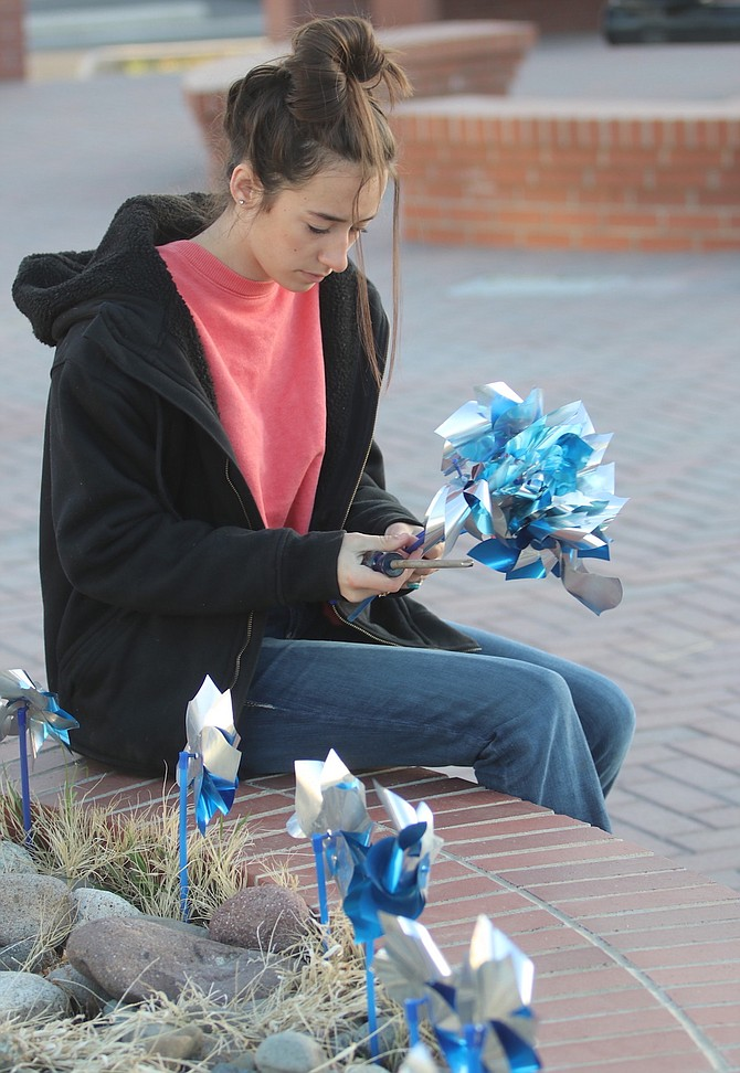 Steve Ranson/LVN Chloe Smith plants pinwheels Friday morning at Millennium Park hours before a ceremony on Child Abuse Prevention Month began.