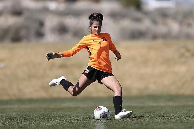 Douglas High goalkeeper Madelyn VonAhsen clears a goal kick Saturday against Galena in the Class 5A Northern Nevada Regional Final