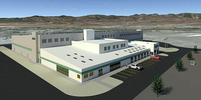 A rendering of American Battery Technology Company's 60,000-square-foot lithium-ion battery recycling plant it is planning to build in Fernley.