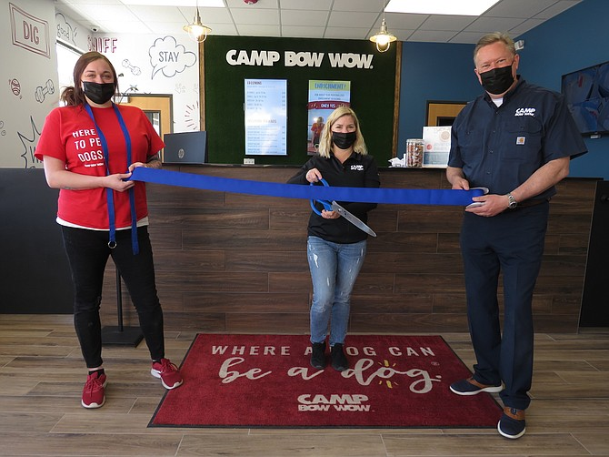 Key Staff of Camp Wow Wow gathered for a small, socially-distanced ribbon cutting on April 2, with the Reno+Sparks Chamber of Commerce.