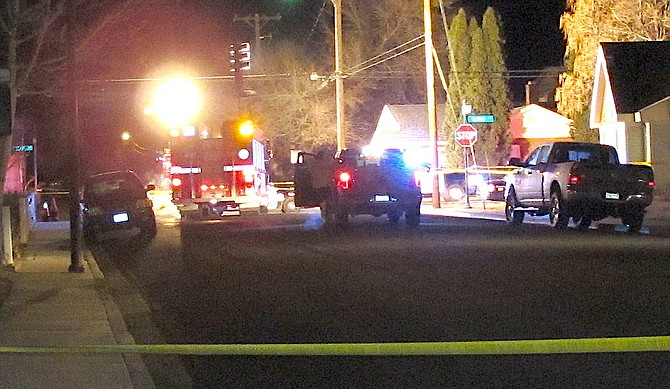 Investigators work the scene of a shooting in downtown Gardnerville in the early morning hours of Dec. 21, 2020.