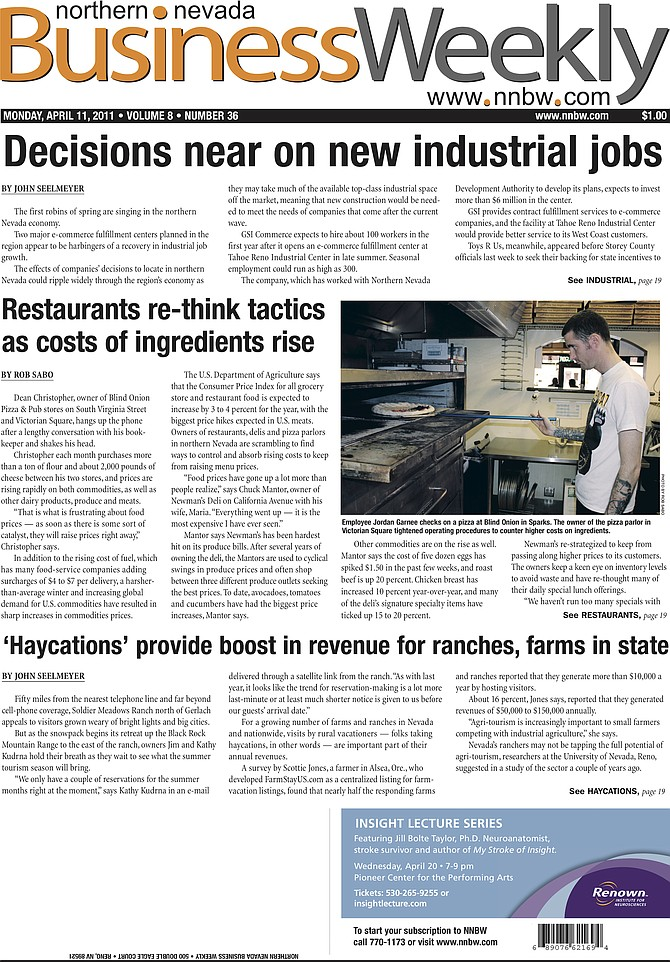 The cover of the April 11, 2011, edition of the Northern Nevada Business Weekly.