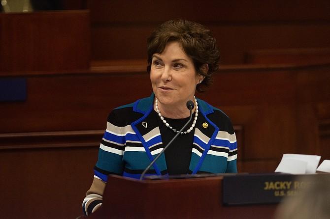 Democratic U.S. Sen. Jacky Rosen address the Nevada Legislature on Monday, Jan. 18, 2019.