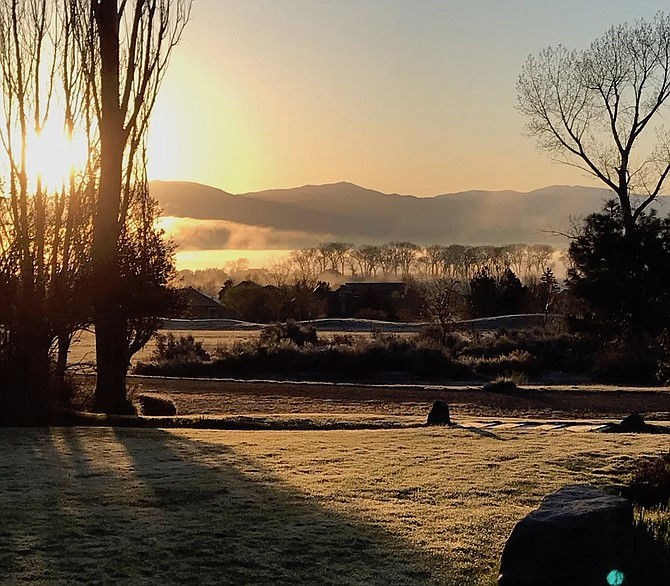 The grass was frosty across Carson Valley on Thursday morning as seen in this photo from Genoa resident Heather Hollister.
