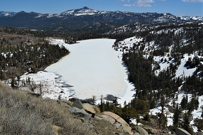 Red Lake above Hope Valley in Alpine County still has a layer of ice on it Saturday.
