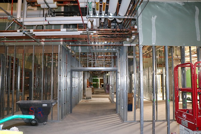 A look inside Sierra Medical Center in early April; the complex is being constructed with 4,000 tons of steel.