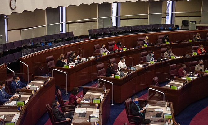 Members of the Assembly during the floor session inside the Legislature on Tuesday, March 9, 2021 in Carson City.